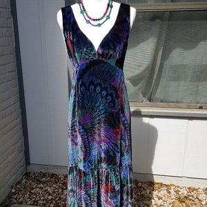 NANETTE LEPORE  LADY SAMANTHA PEACOCK VELVET DRESS